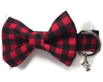 Buffalo Red Black Plaid Bow Tie Dog Collar ALL SIZES