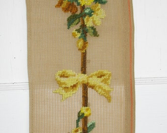 Yellow Flowers Tapestry, Preworked Needlepoint Canvas, Embroidered Flowers, Needlepoint Bell Pull