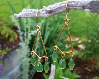 Dangle Earrings, Green Dangle Earrings, Gypsy Earrings