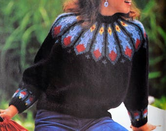 Tutorial black jacquard Iceland for Lady sweater