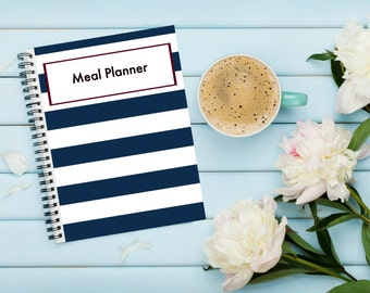Downloadable Meal Planner Red White and Blue Navy and Wine Printable Menu, Grocery List and Goals