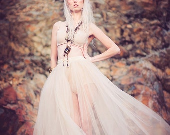 The Champagne/Blush Sheer Tulle Maxi Skirt Festival Fashion