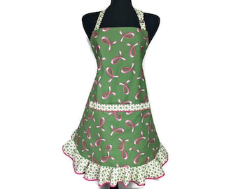 Pink Ribbon Apron for women , Breast Cancer Awareness , Pink Ribbons on Green with White Ruffle / Retro Kitchen Decor / Frilly Green Apron