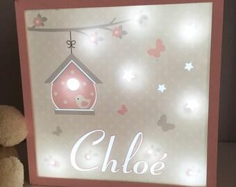 Veilleuse bebe, Lampe personnalisée au prénom de l'enfant, modèle rose