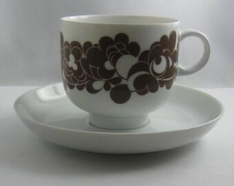 Rosenthal Germany studio-line. Plus Cordinal brown. Cup and saucer (white). Design Wolfgang Karnagel. 70s. VINTAGE