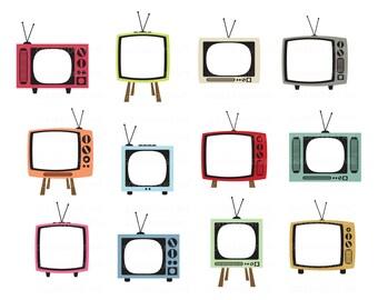 Vintage TV Digital Clipart, Retro Tv, Digital Clipart, Vintage Television, Cute Vintage, Cute Retro, Televison Digital