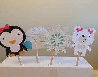 Winter wonderland ONEderland birthday cupcake toppers