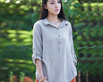 Women cotton and linen shirt – Long sleeve loose shirt