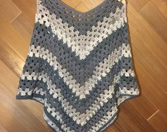 Handmade Crochet Women's Granny Square Poncho - grey/taupe/beige