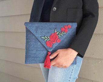Ava Rose Denim Envelope Clutch