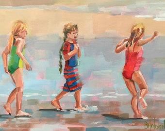 Beach Kids, Original Oil Painting by Bridget Hobson, 8x6 inch, free domestic shipping