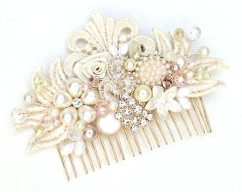 Blush Hair Accessory- Floral Hairpiece- Wedding Hair Accessories- Blush Bridal Comb- Blush Wedding Comb- Pearl bridal comb- Blush Hairpiece