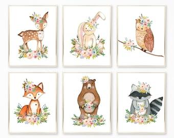 Woodland Nursery Art. Woodland Nursery Decor. Boho Woodland Animals. Woodland Nursery Girl. Woodland Nursery. Nursery Art. Nursery Wall Art.