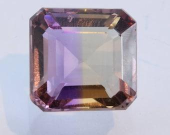 Bolivian Ametrine Yellow Purple Quartz Faceted 11 mm Octagon Square 6.16 carat