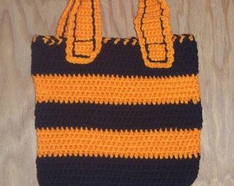 Crocheted Trick or Treat Bag (Black and Orange)