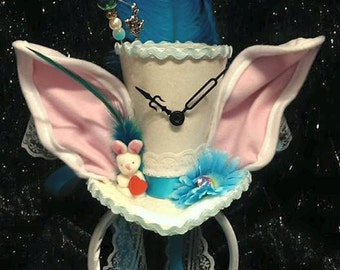 White Rabbit Alice in Wonderland Through The Looking Glass Mini Top Hat Mad Hatter Tea Party Steampunk Wedding Ascot Bunny Clocks Easter