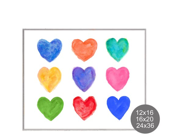Kids Poster for Playroom, 12x16, 16x20, 24x36 Hearts Poster
