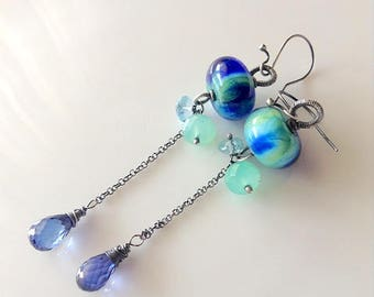 Chrysoprase earrings, long chrysoprase earrings , Glass Lampwork earrings, hanmade,  artisan lampwork earrings,