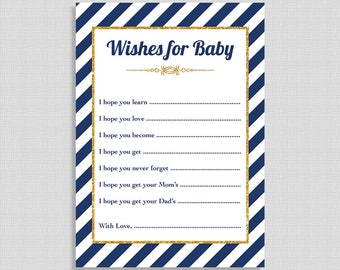 Navy Wishes For Baby Shower Cards, Navy & Gold Stripe Baby Shower Activity, DIY Printable, INSTANT DOWNLOAD