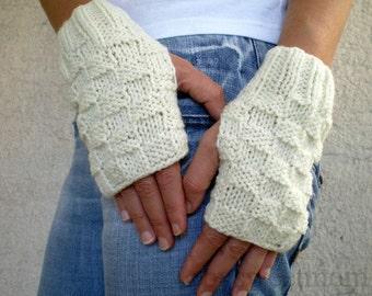 Cream Fingerless Gloves, Knit Fingerless Mittens