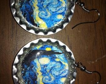 Starry Night Bottle Cap Earrings