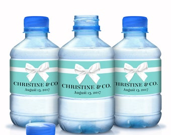 30 Robins Egg Blue Labels with White Ribbon  - Personalized Water Bottle Labels - Name and Co Labels  - Ribbon Water Labels - Waterproof
