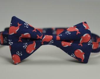 Coral and Navy Whales Boy's Bowtie, Nautical Bow Tie, Navy Blue Tie, Toddler Bowtie, Baby Bowtie, Preppy Boy's tie