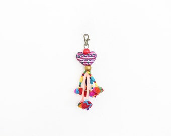 Colorful Vintage Heart Keychain With Pompoms Tassel