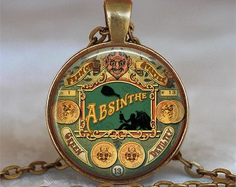 Green Devil Absinthe necklace, absinthe pendant, steampunk jewelry Halloween jewellery Absinthe jewelry key chain key ring key fob