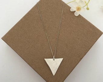 VIVIEN- triangle pendant, brushed silver, geometric jewelry, necklace, 960 sterling silver made of metal clay, with 925 sterling chaom
