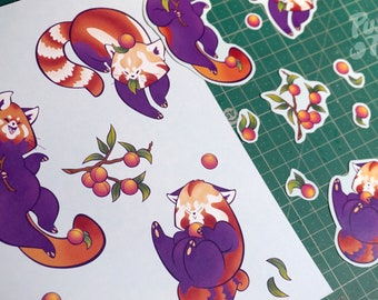 Red Pandas & Peaches - Stickers + Print Set