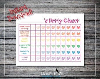 Printable Toddler Potty Chart with Hearts - 8.5x11 - Girl Potty Chart - Instant Download