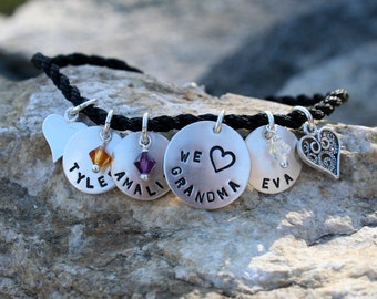 Modern Charm Bracelet for Mom/Grandma/Nana/Godmother - Hand Stamped/Personalized - in choice of Black/Brown/Natural/White