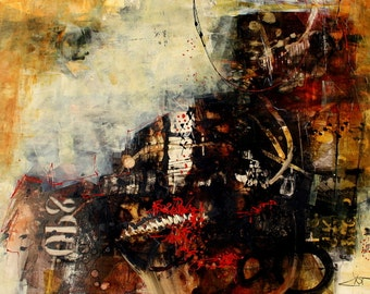 16 x 20 Modern Art Contemporary Print grungy with an urban flair More Time by Jodi Ohl