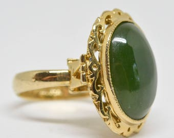 Gold tone and green stone ring