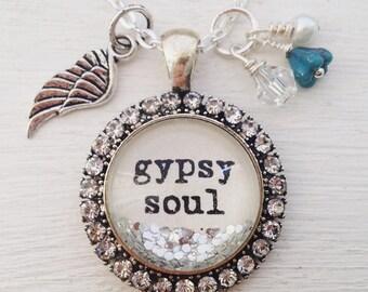 Gypsy soul sparkle charm necklace, bohemian jewelry, sparkle necklace, rhinestone necklace, wing necklace, personalized jewelry