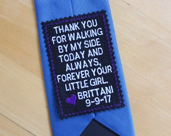 Father of the Bride Gift, Wedding tie patch, tie label, wedding favor, sew-on,iron-on option, thank you for walking by my side, BLACK. TPR1B