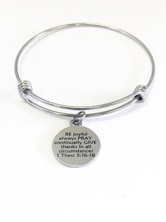 Christian Gift, Christian Bracelet, BE PRAY GIVE Bracelet Gift, Christian Charm, Be Joyful, Always Pray, Give Thanks, Bible Verse Gift