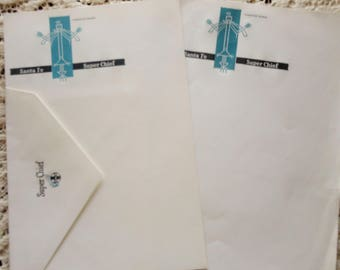 Rare Santa Fe Railroad Super Chief UNUSED Stationery 2 Sheets Envelopes Turquoise Woman Icon Logo