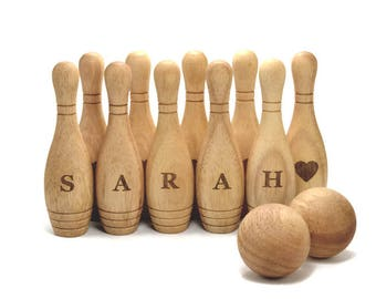 Personalized Wooden Bowling Game Set  Montessori Wood Toy  Eco-Friendly Gift for a Toddler Wooden toy for baby Personalized Baby wood toys