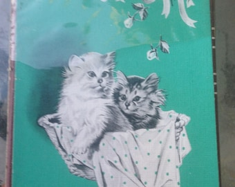 Vintage Tax Stamp Sealed Fifth Avenue Playing Card Deck with Kittens on Back