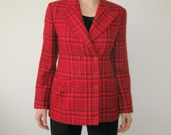 Italian BYBLOS Red Checkered Wool Blazer Jacket
