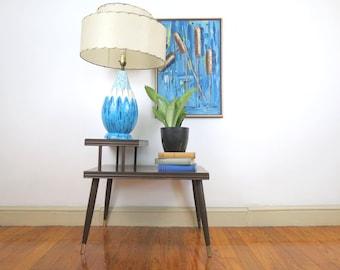 Mid Century End Table // Vintage Worn Nightstand or End Table Dark Wood Tiered Living Room or Bedroom Furniture Mid Century Retro Mod