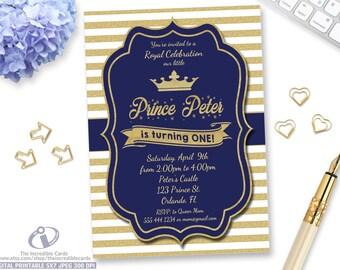 Prince Birthday Invitation, Blue and Gold Birthday Invitation, Our Little Prince, Gold Glitter Stripes, Boy 1st Birthday, Printable Digital