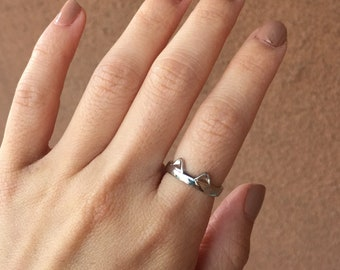 Silver Plated Cat Ring, Cat Jewelry, Cat Ring Adjustable, Cute Silver Ring, Cute Simple Ring