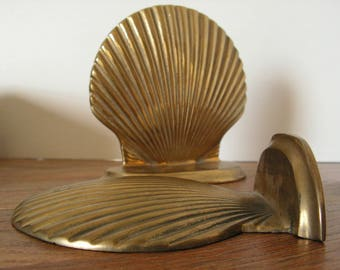 Brass Shell Bookends, solid nautical