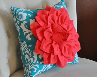 Flower Pillow Coral on Turquoise Damask Pillow Accent Pillow Throw Pillow Decorative Pillow