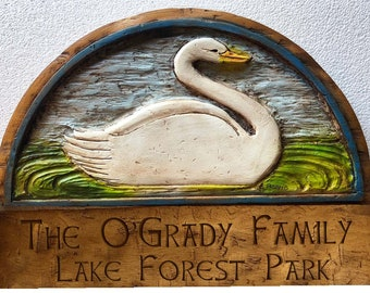 Swan Personalized Name and Address Sign