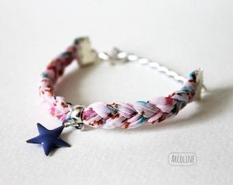 Pink star child braided bracelet