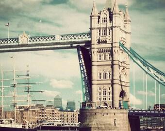 London photography, fine art photograph, travel decor, Tower Bridge, England print, London art - London Crossing